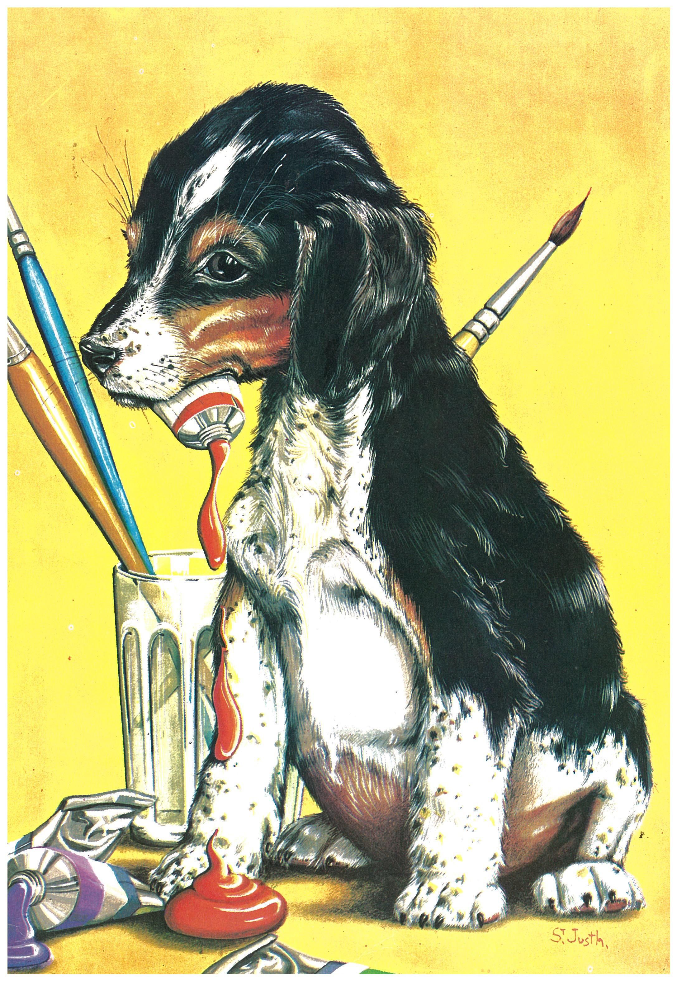 Kunstwerk gemaakt door Xavier getiteld Hondje met verf