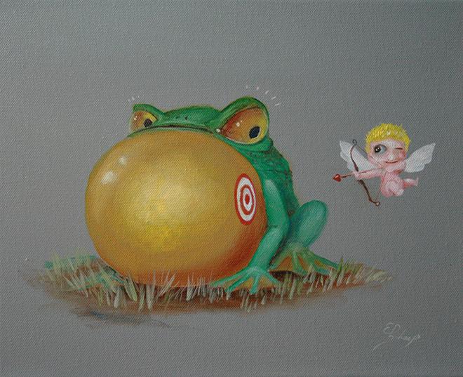 Kunstwerk gemaakt door Ed getiteld Cupido, Love Kills