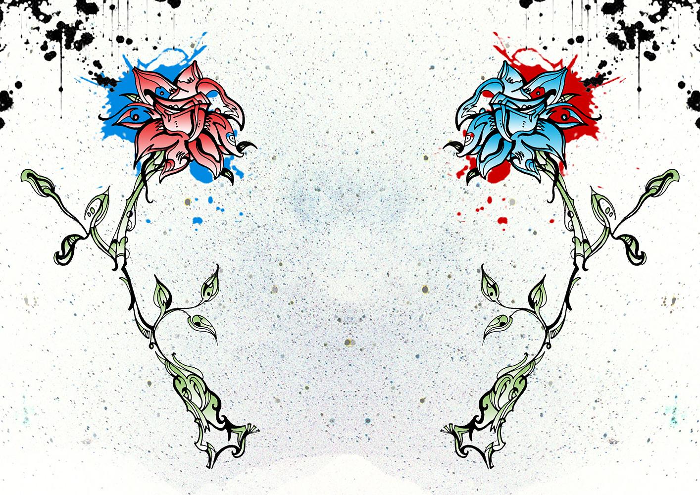 Kunstwerk gemaakt door Jeroen getiteld The Red and Blue flowers