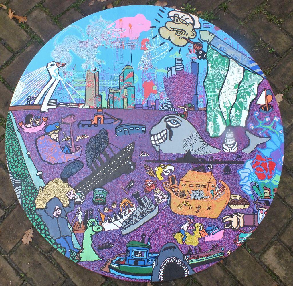 Kunstwerk gemaakt door Pieter getiteld Groetjes uit Rotterdam