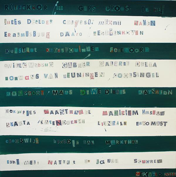 Kunstwerk gemaakt door Felix getiteld Het Rotterdams woordendoek