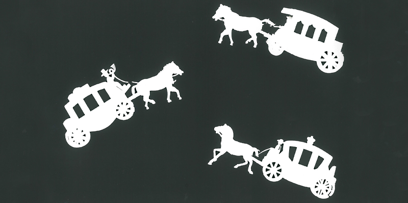 Kunstwerk gemaakt door Wim getiteld Gesilhouetteerde koetsjes