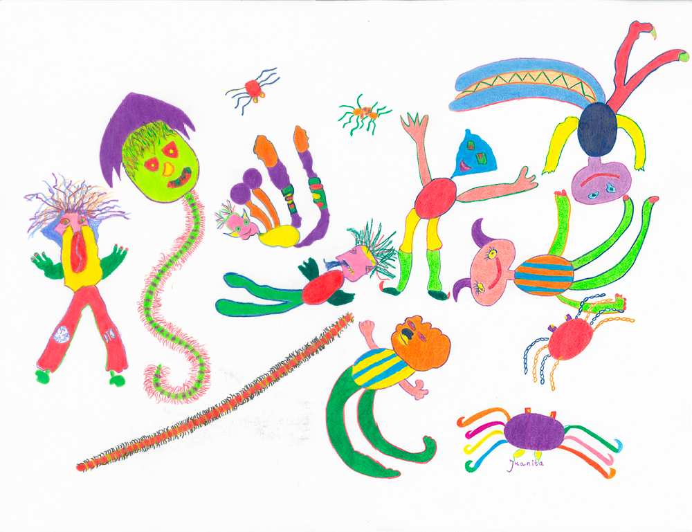 Kunstwerk gemaakt door juanita getiteld Rupsjes en krabjes