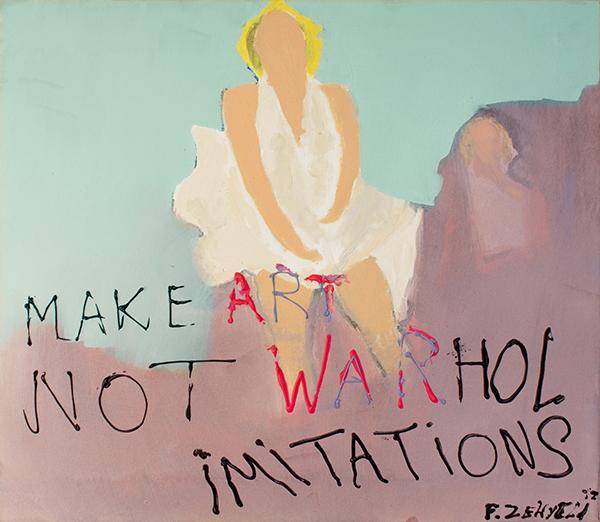 Kunstwerk gemaakt door Felix getiteld Make art not Warhol Imitations