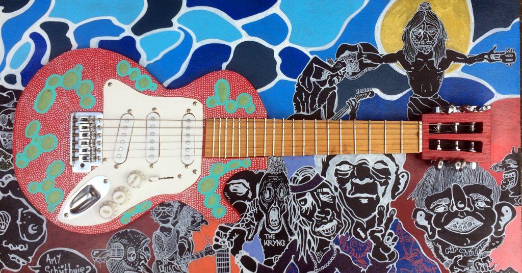 Kunstwerk gemaakt door Pieter getiteld Guitar King