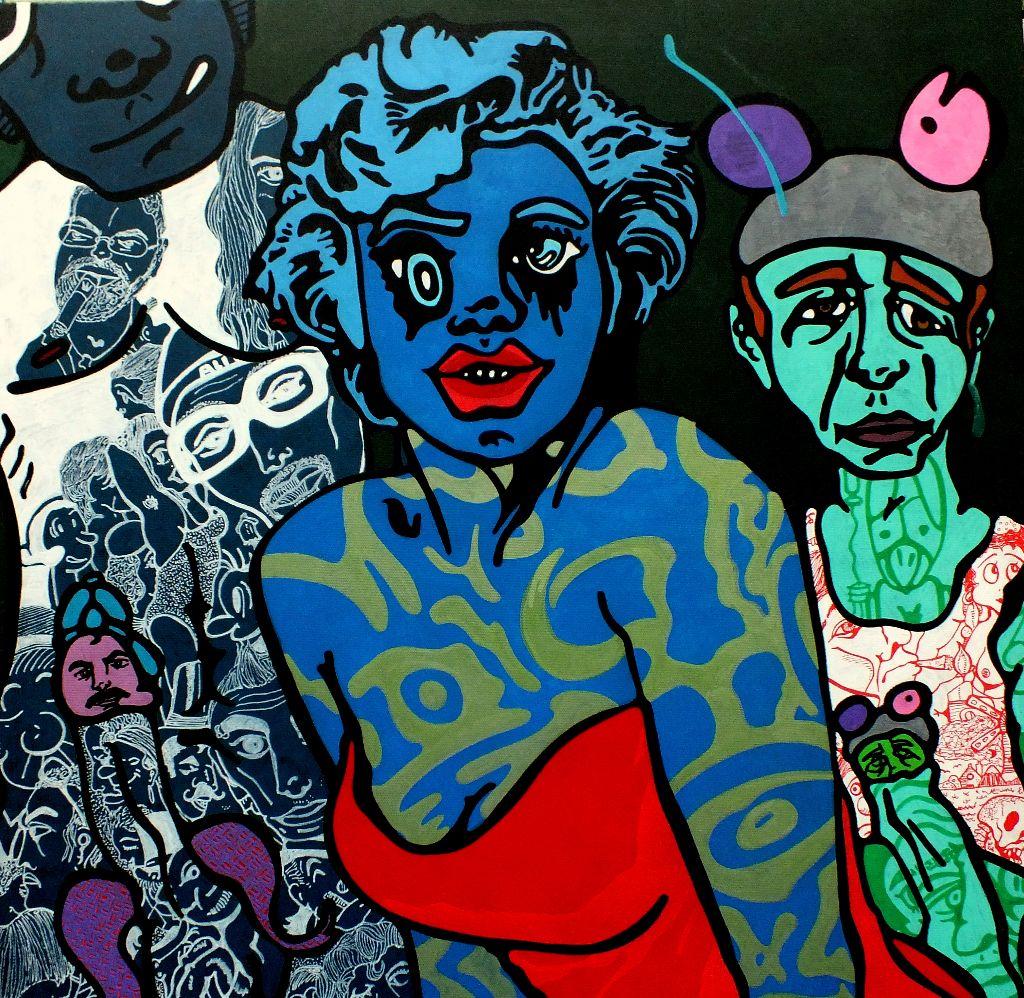 Kunstwerk gemaakt door Pieter getiteld Marylin Monroe and her horny fans