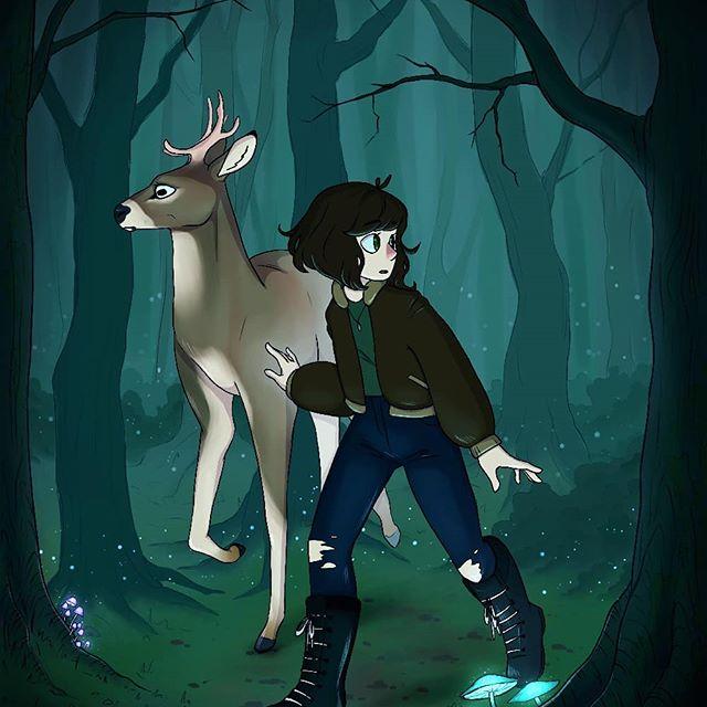 Kunstwerk gemaakt door Eva getiteld Dwalen in het bos