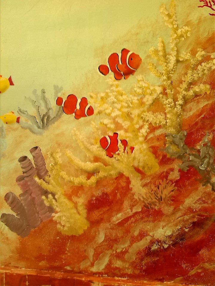 Kunstwerk gemaakt door Hans getiteld Vissen in koraal