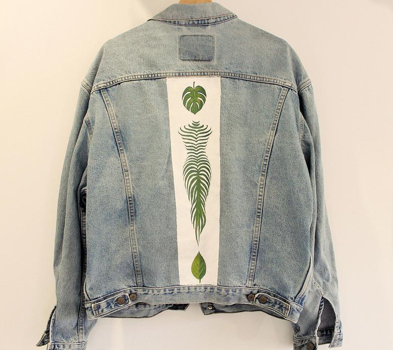 Kunstwerk gemaakt door Drippin getiteld Bladeren Levi's denim jasje