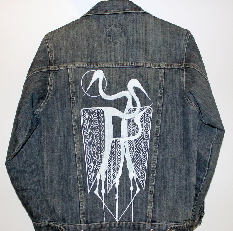 Kunstwerk gemaakt door Drippin getiteld Vogels Denim jasje