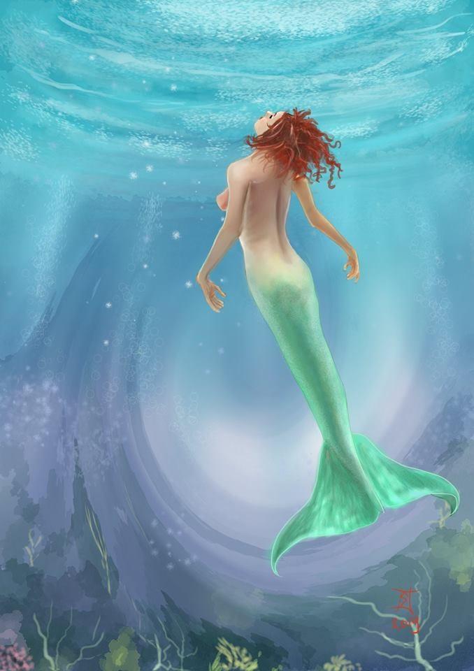 Kunstwerk gemaakt door Huub getiteld Zeemeermin, mermaid