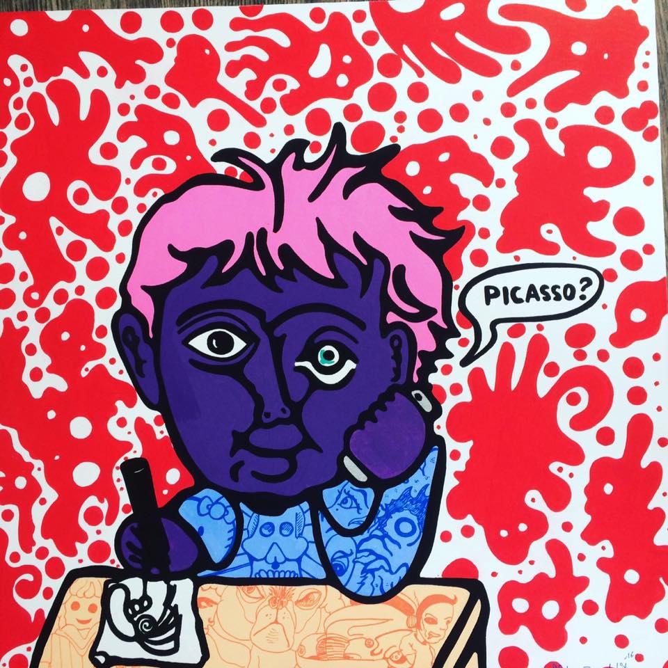 Kunstwerk gemaakt door Pieter getiteld Dead line