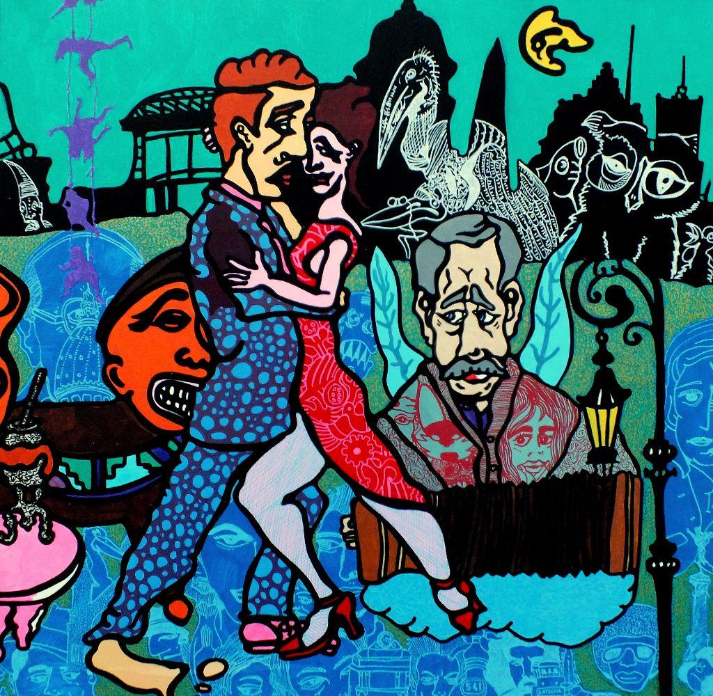 Kunstwerk gemaakt door Pieter getiteld Noche en Buenos Aires